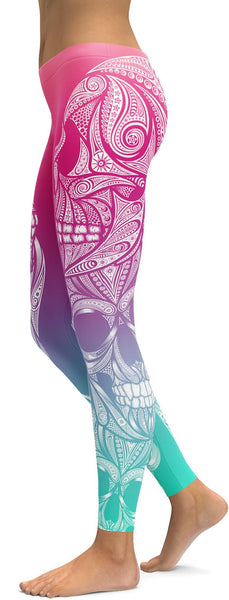 Bright Ornamental Skull Leggings