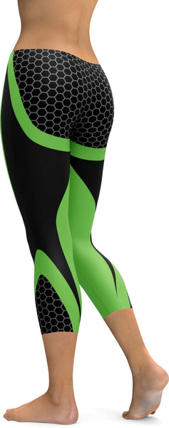 Green Honeycomb Carbon Capris