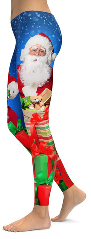 1d24344841b34a Santa & Presents Christmas Leggings - GearBunch Leggings / Yoga Pants