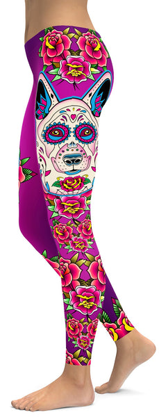 Sugar Skull German Shepherd Leggings