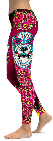 Sugar Skull Golden Retriever Leggings