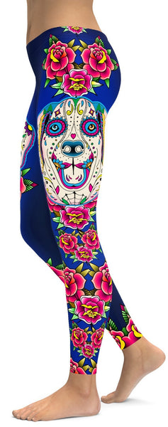 Sugar Skull Labrador Leggings