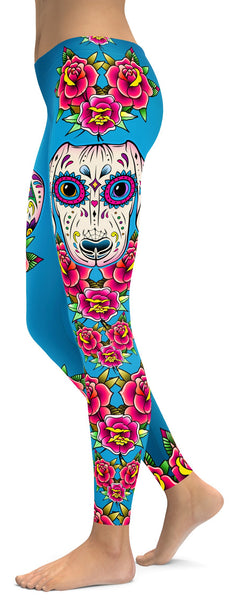 Sugar Skull Dachshund Leggings