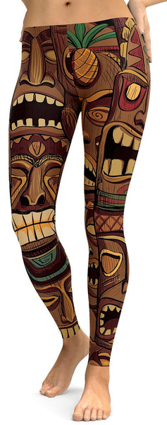 hawaiian tiki masks leggings