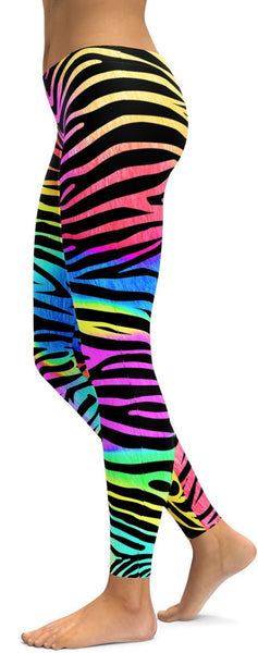 Colorful Zebra Striped Leggings