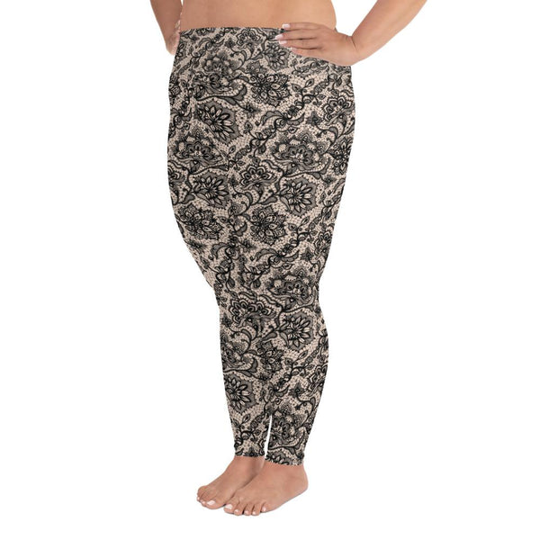 Black Faux Lace Plus Size Leggings