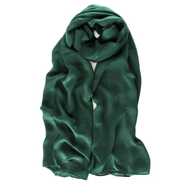 Natural Mulberry 100% Silk Occasional Maxi Hijab | Emerald - Mai Official
