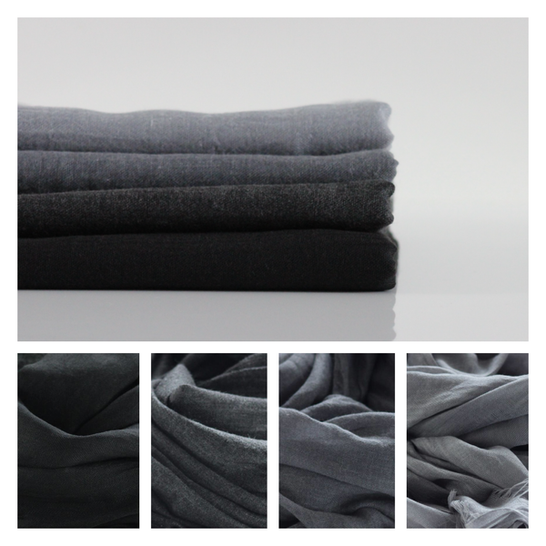 Classic Cotton Modal Maxi Hijab | Black, Dark Charcoal Grey, Slate Grey, Silver Grey - Mai Official