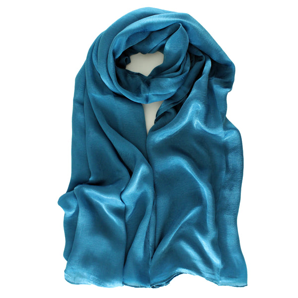 SALE | Natural Mulberry 100% Silk Occasional Maxi Hijab | Blue Teal - Mai Official