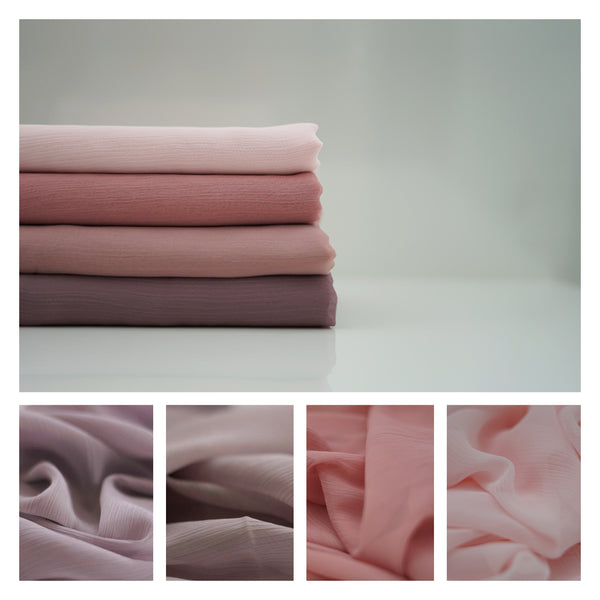 New Colours | Crinkle Chiffon Hijab | Chalky Mauve, Pink Sand, Powder Blush, Rose Pink - Mai Official