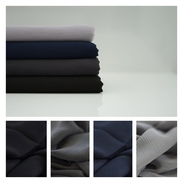 Crinkle Chiffon Hijab | Black, Charcoal, Navy, Grey Heather - Mai Official