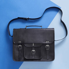 Black Leather Satchel - Ideal For School