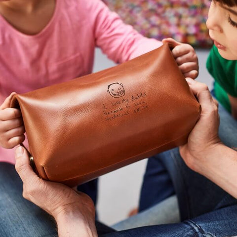 Leather Wash Bag with Laser Engraved Picture