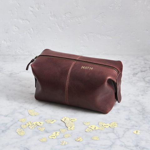 Dark Brown Leather Wash Bag With Initials