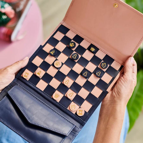 Personalised Leather Chess Set Queens Gambit