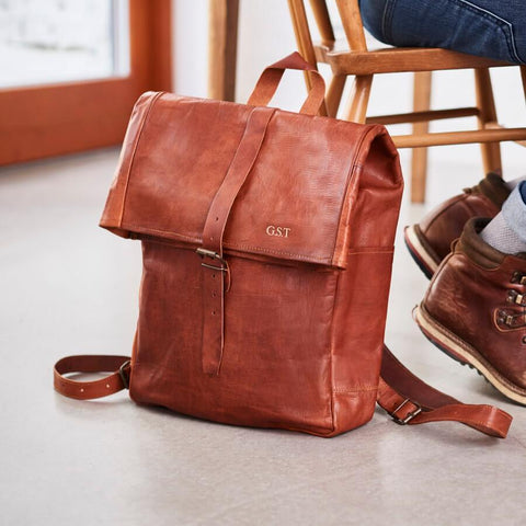 Roll Top Handmade Tan Leather Backpack