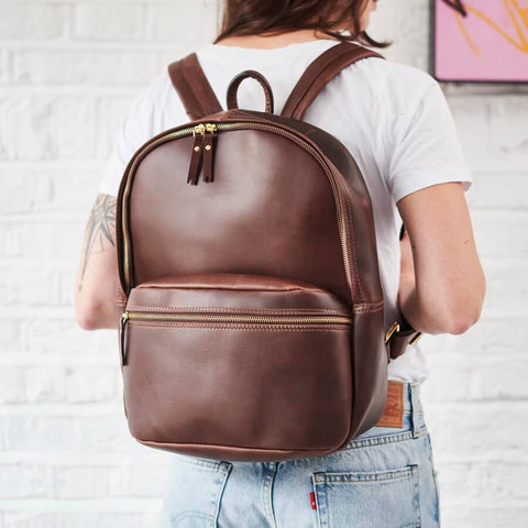 Modern Leather Backpack Men and Women Dark Brown