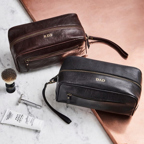 Brown Black Leather Wash Bag with Strap