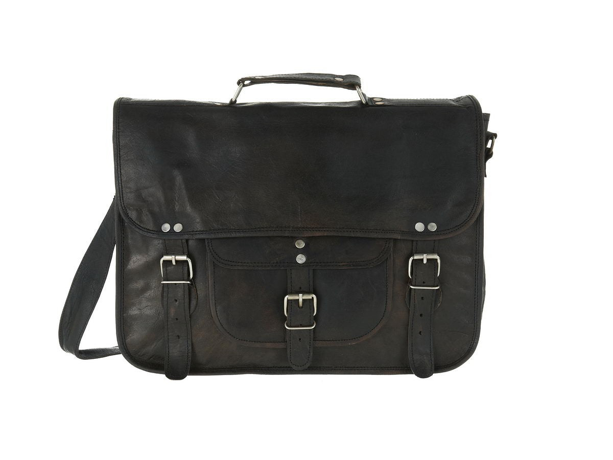 Large Black Leather Satchel