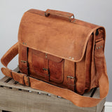 Mens Special Leather Laptop Bag Extra Large Tan Brown