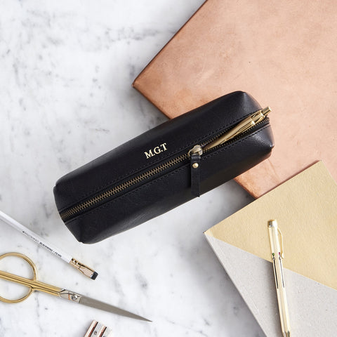 Personalised pencil case in black leather with gold embossing