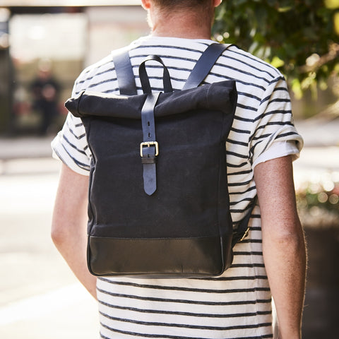 Roll-top Canvas and Leather Backpack