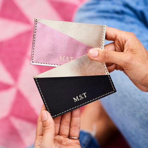 Metallic Leather Credit Card Holder