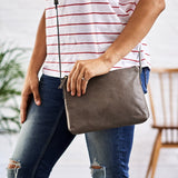 Grey small leather handbag