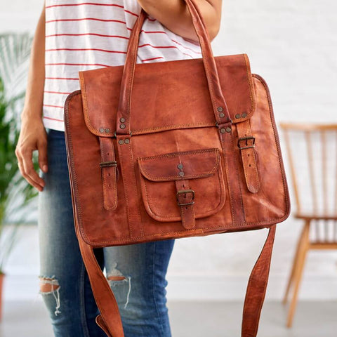 Womens leather overnight bag in tan brown