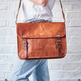 Leather Medium Laptop Bag with Handle