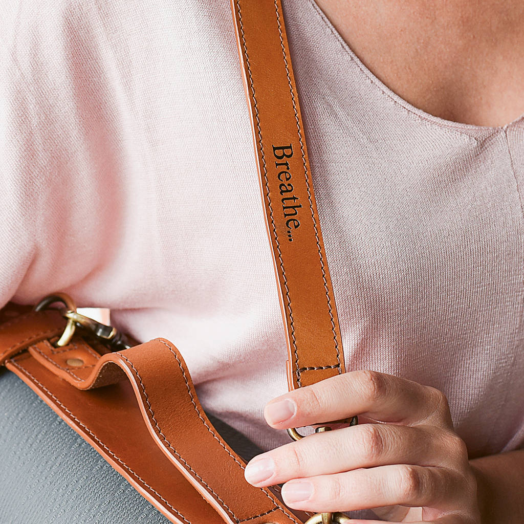 Personalised Leather Yoga Strap