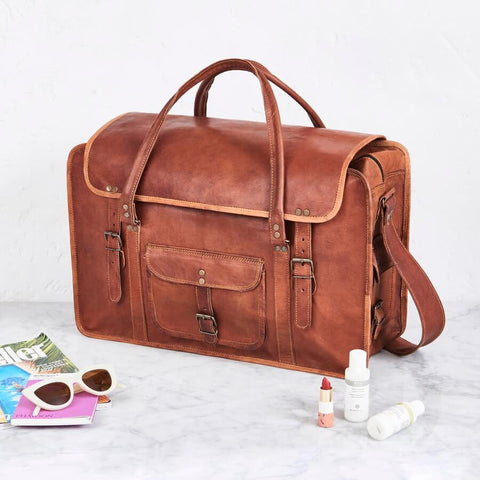 Extra Large Leather Weekend Travel Bag