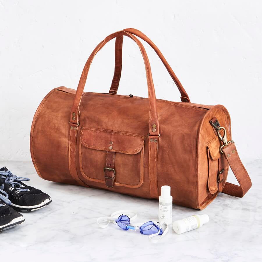 Mens Round Leather Duffel Bag
