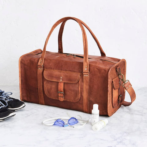 Men's Leather Duffel Bag 22 inch