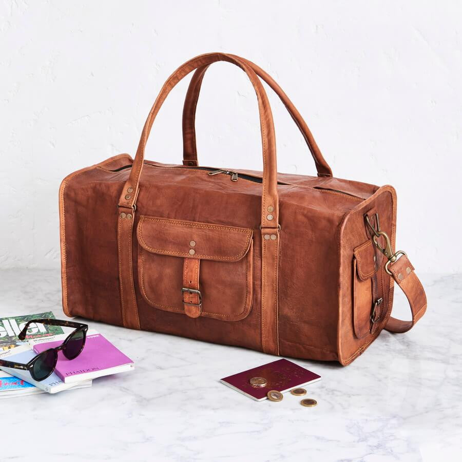 Square end leather duffel bag