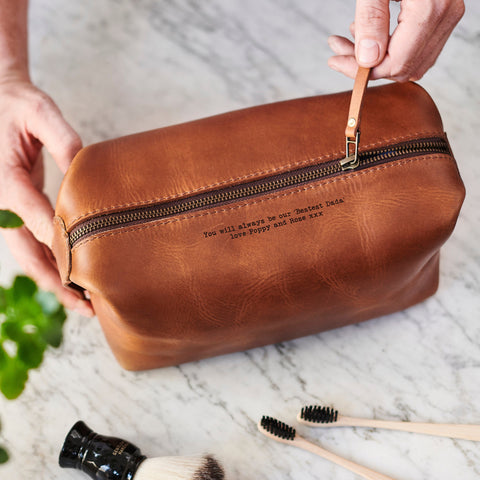Luxe Leather Wash Bag With Personal Message