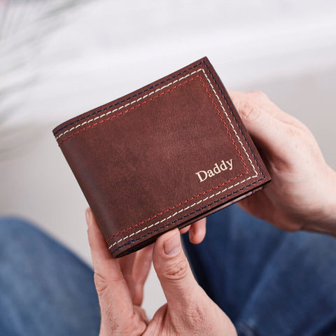 Personalised Dark Brown Leather Wallet With Triple Stitch