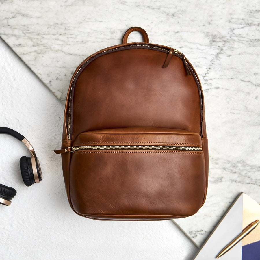 Dark tan leather backpack for men