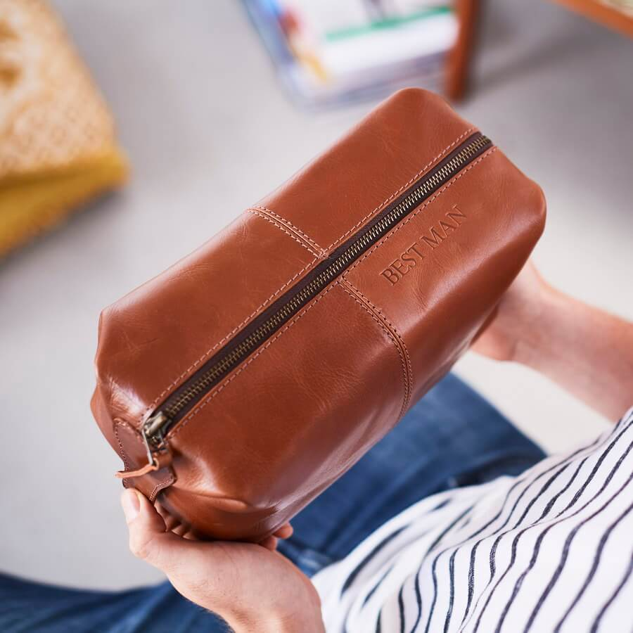 Best man present leather wash bag in brown