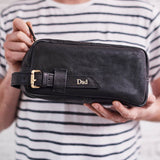 Black leather wash bag for men