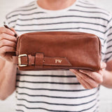 Brown personalised leather wash bag for men