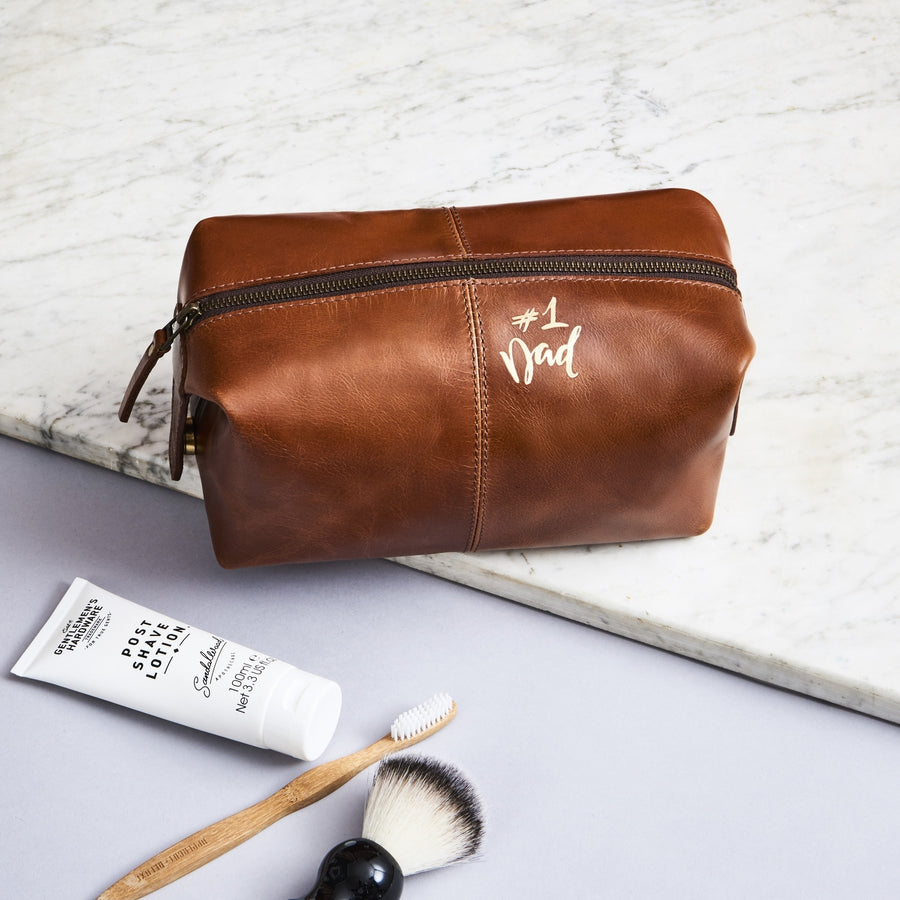 Dark tan leather wash bag for men