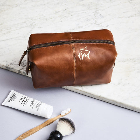 No.1 Dad Leather Wash Bag