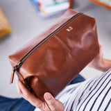 Embossed buffalo leather tan wash bag for bathroom