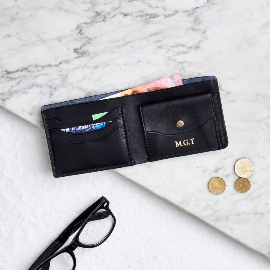 black raw leather coin wallet with personalisation options