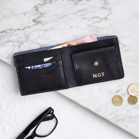 Raw black leather wallet for men