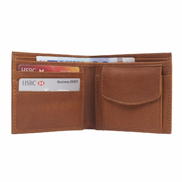 Leather Wallet with Coin Section Tan