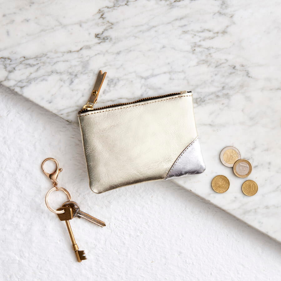 Gold and silver leather coin purse