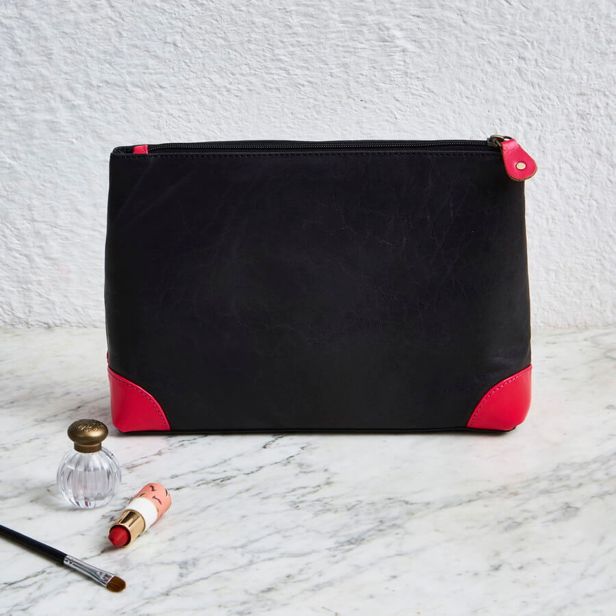 Two colour Leather Toiletry Bag