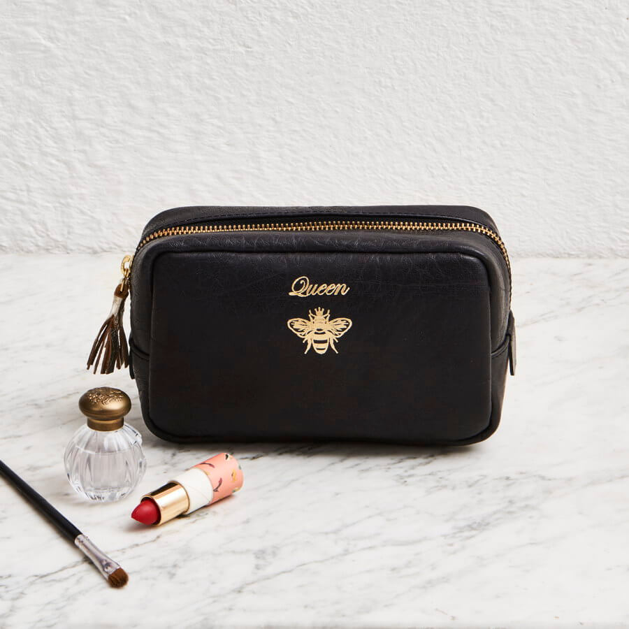 Queen bee black leather makeup bag